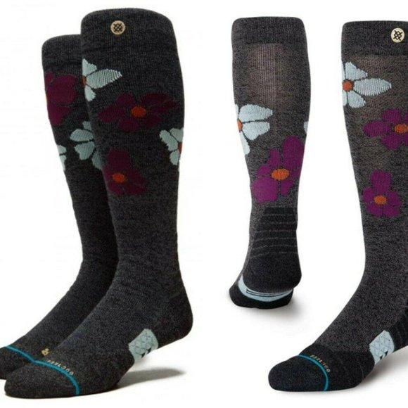 NWT Stance Comstock Black Wool Floral Snow Socks